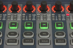 Sound system control panel. Royalty Free Stock Photography