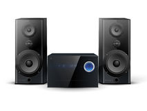 Sound system. Hi-fi stereo system with two speakers Royalty Free Stock Image
