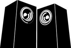 Sound-system speaker illustration icon in black and white Stock Image