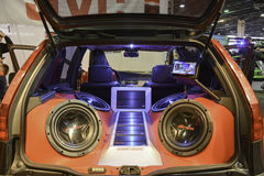 Sound system tuned car. 11th Car and Motorcycle Tuning Show in Hungexpo, Budapest, Hungary. Photo taken to: March 19th, 2016 Royalty Free Stock Images