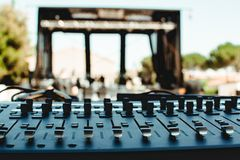 Sound table before a concert royalty free stock image