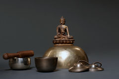 Sound theraphy with singing bowls (Cup of life) - popular mass product souvenier in Nepal, Tibet and India Stock Images
