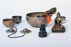 Sound theraphy with singing bowls (Cup of life) - popular mass product souvenier in Nepal, Tibet and India Royalty Free Stock Images