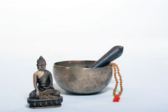 Sound theraphy with singing bowls (Cup of life) - popular mass product souvenier in Nepal, Tibet and India Stock Photo