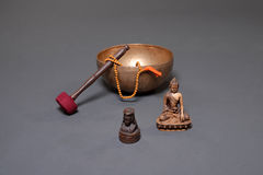 Sound theraphy with singing bowls (Cup of life) - popular mass product souvenier in Nepal, Tibet and India Royalty Free Stock Photo