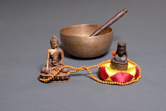 Sound theraphy with singing bowls (Cup of life) - popular mass product souvenier in Nepal, Tibet and India Royalty Free Stock Image