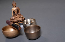Sound theraphy with singing bowls (Cup of life) - popular mass product souvenier in Nepal, Tibet and India Royalty Free Stock Photos