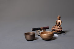Sound theraphy with singing bowls (Cup of life) - popular mass product souvenier in Nepal, Tibet and India Stock Photos