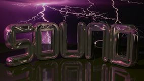 Sound under the storm. SOUND in golden letters under a stormy purple sky Stock Image