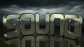 Sound under the storm. SOUND in golden letters under a stormy sky Stock Image