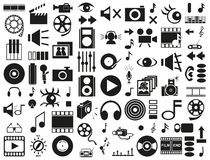 Sound, video icons on white Royalty Free Stock Image