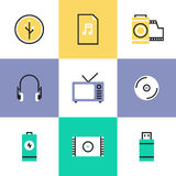 Sound and video pictogram icons set Stock Photography