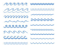 Sound water waves set. Vector blue wave icons set on white background. Water waves Stock Images