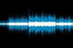 Sound wave. Blue sound wave isolated on black background Royalty Free Stock Photo