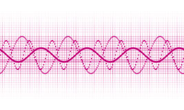 Sound wave. A pink sound wave on white background Stock Images