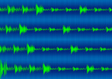Sound wave. Green sound wave on the blue Royalty Free Stock Photo