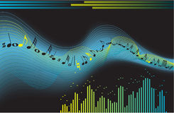Sound wave. The feeling of the music in the night Royalty Free Stock Image