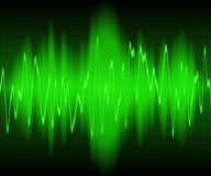 Sound wave. Green sound waves oscillating on black background Royalty Free Stock Photos