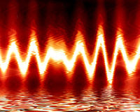 Sound wave. On a bright red fiery background Royalty Free Stock Image