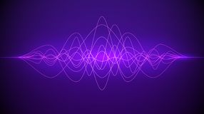 Sound wave. Abstract purple color light dynamic flowing. Music or technology background. Vector illustration royalty free illustration