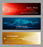 Sound wave banners. Digital abstract vibrant waveform lines energy cards vector illustration. Banner for sound studio record Stock Photo
