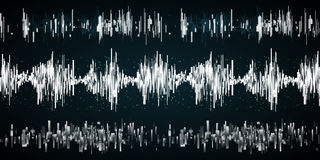 Sound wave on a dark background. Sound wave set on a dark background. Vector ilustration. Radio concept Stock Photo