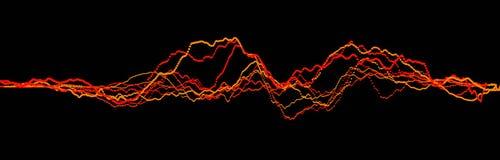 Sound wave element. Abstract black digital equalizer. Big data visualization. Dynamic light flow. 3d rendering stock illustration