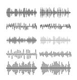 Sound wave forms vector illustration. Soundtrack audio music amplitude waveforms equalizer Royalty Free Stock Image