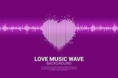Sound wave heart icon Music Equalizer background. vector illustration
