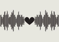 Sound wave with heart shape in center | voice of music equalizer design | digital technology waveform Stock Images
