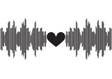 Sound wave with heart shape in center | voice of music equalizer design | digital technology waveform Royalty Free Stock Photo