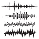 Sound Wave Icon Set. Music soundwave icons set. Equalize audio a Stock Photos