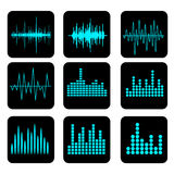 Sound Wave Icon Set. Music soundwave icons set. Equalize audio a. Nd stereo sound, wave, melody Royalty Free Stock Photography