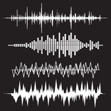 Sound Wave Icon Set. Music soundwave icons set. Equalize audio a. Nd stereo sound, wave, melody Royalty Free Stock Photo