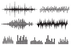 Sound Wave Icon Set. Music soundwave icons set. Equalize audio a. Nd stereo sound, wave, melody. Vector illustration Stock Photography