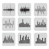 Sound Wave Icon Set. Music soundwave icons set. Equalize audio and stereo sound, wave, melody. Vector illustration Royalty Free Stock Images