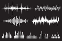 Sound Wave Icon Set. Music soundwave icons set. Equalize audio and stereo sound, wave, melody. Vector illustration Stock Photos