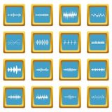 Sound wave icons azure. Sound wave icons set in azur color isolated vector illustration for web and any design Stock Photography