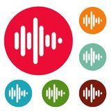 Sound wave icons circle set vector. Isolated on white background Royalty Free Stock Photo