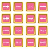 Sound wave icons pink. Sound wave icons set in pink color isolated vector illustration for web and any design Royalty Free Stock Images