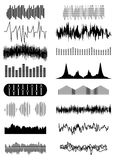 Sound wave icons set. In black Royalty Free Stock Photos