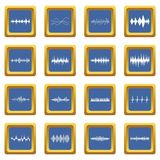 Sound wave icons set blue. Sound wave icons set in blue color isolated vector illustration for web and any design Royalty Free Stock Photos