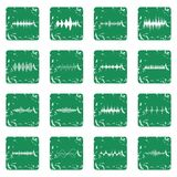 Sound wave icons set grunge. Sound wave icons set in grunge style green isolated vector illustration Stock Images