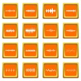 Sound wave icons set orange. Sound wave icons set in orange color isolated vector illustration for web and any design Royalty Free Stock Photos
