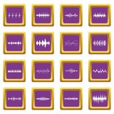 Sound wave icons set purple Stock Photos