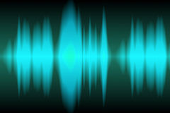 Sound Wave. Light blue sound waves oscillating on black background stock illustration
