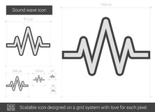 Sound wave line icon. Sound wave vector line icon isolated on white background. Sound wave line icon for infographic, website or app. Scalable icon designed on Stock Images