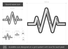 Sound wave line icon. Sound wave vector line icon isolated on white background. Sound wave line icon for infographic, website or app. Scalable icon designed on Royalty Free Stock Image