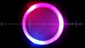 Sound wave with luminous circular element on background 3D illustration stock illustration