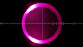 Sound wave with luminous circular element on background, seamless loop vector illustration